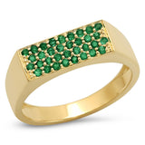 14K Yellow Gold Emerald Staple Signet Ring