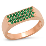 14K Rose Gold Emerald Staple Signet Ring