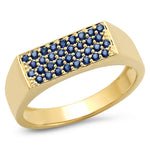 14K Yellow Gold Blue Sapphire Staple Signet Ring