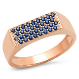 14K Rose Gold Blue Sapphire Staple Signet Ring