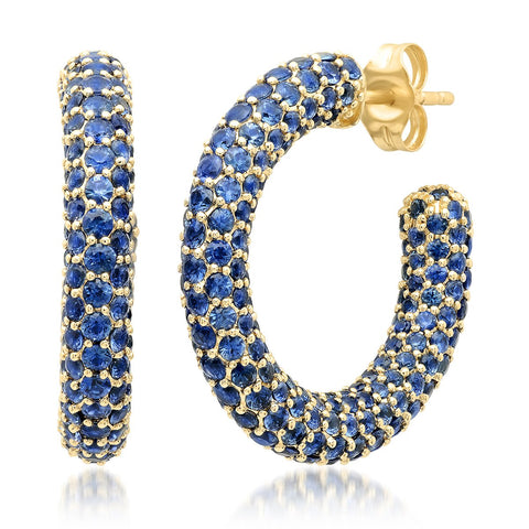 Eriness Jewelry Blue Sapphire Party Hoops