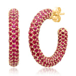 Eriness Jewelry Ruby Party Hoops