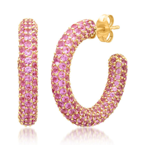 Yellow Gold Pink Sapphire Party Hoops