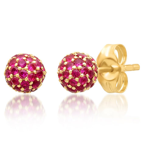 Eriness Jewelry Ruby Disco Ball Studs
