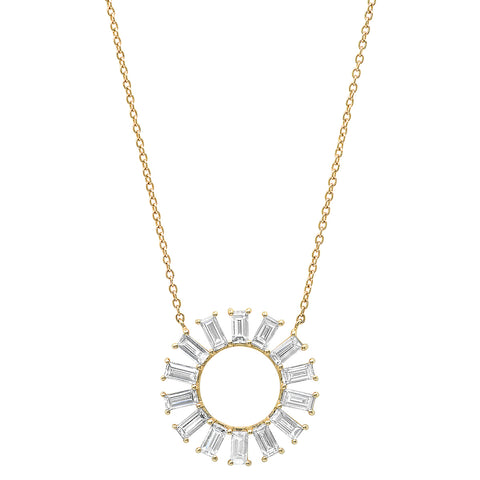 Yellow Gold Diamond Baguette Color Wheel Necklace
