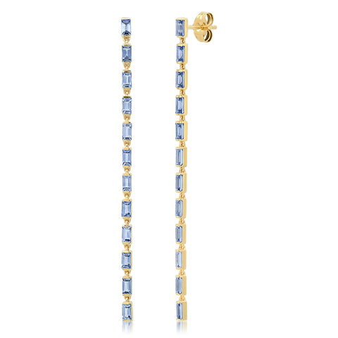 Eriness Jewelry Blue Sapphire Baguette Link Earrings