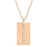 Rose Gold Diamond Baguette Dog Tag Necklace