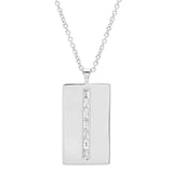 White Gold Diamond Baguette Dog Tag Necklace