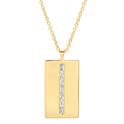 Yellow Gold Diamond Baguette Dog Tag Necklace