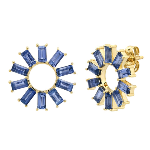 Eriness Jewelry Blue Sapphire Baguette Color Wheel Studs