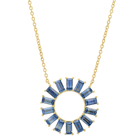 Blue Sapphire Baguette Color Wheel Necklace