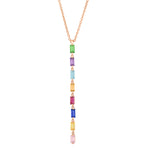 Rose Gold Multi Colored Baguette Link Necklace