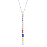 White Gold  Multi Colored Baguette Link Necklace