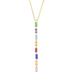 Eriness Jewelry Multi Colored Baguette Link Necklace