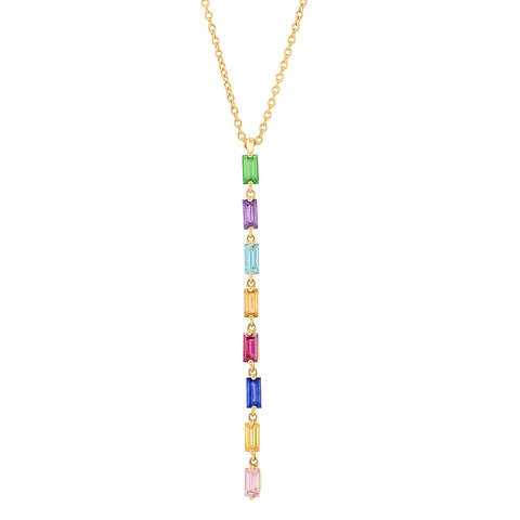 Yellow Gold Multi Colored Baguette Link Necklace