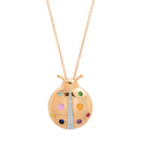 Rose Gold Multi Colored  Mama Ladybug Necklace