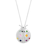 White Gold Multi Colored  Mama Ladybug Necklace