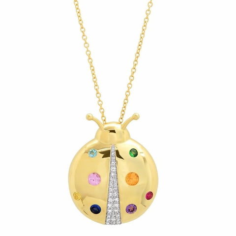 Yellow Gold Multi Colored  Mama Ladybug Necklace