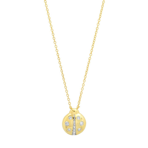 Yellow Gold Diamond Baby Ladybug Necklace