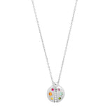 White Gold Multi Colored  Baby Ladybug Necklace