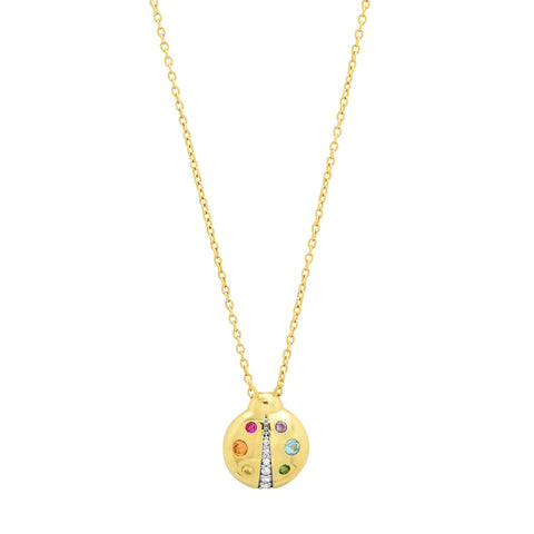 Yellow Gold Multi Colored  Baby Ladybug Necklace
