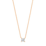Rose Gold Diamond Square Solitaire Necklace