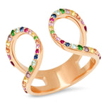 Rose Gold Multi Colored Double Loop Ring