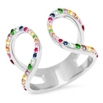 White Gold Multi Colored Double Loop Ring