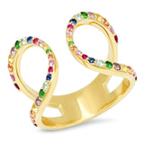 Yellow Gold Multi Colored Double Loop Ring