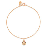 Rose Gold Multi Colored Ladybug Charm Bracelet