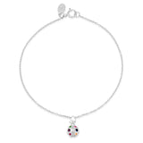 White Gold Multi Colored Ladybug Charm Bracelet
