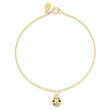 Yellow Gold Multi Colored Ladybug Charm Bracelet