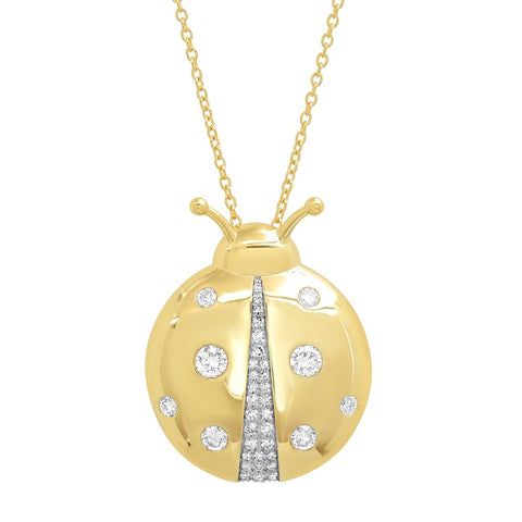Yellow Gold Diamond Mama Ladybug Necklace