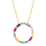 Yellow Gold Multi Colored Baguette Circle Necklace