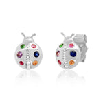 White Gold Multi Colored Ladybug Studs