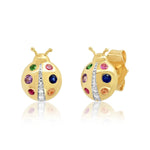 Yellow Gold Multi Colored Ladybug Studs