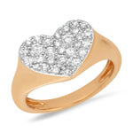 14K Rose Gold Diamond Smushed Heart Pinky Ring