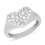 14K White Gold Diamond Smushed Heart Pinky Ring