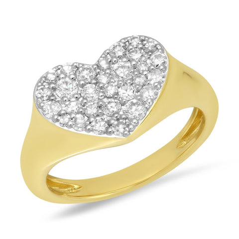 Yellow Gold Diamond Smushed  Heart Pinky Ring
