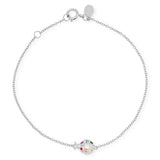 White Gold Multi Colored Crawling Ladybug Bracelet
