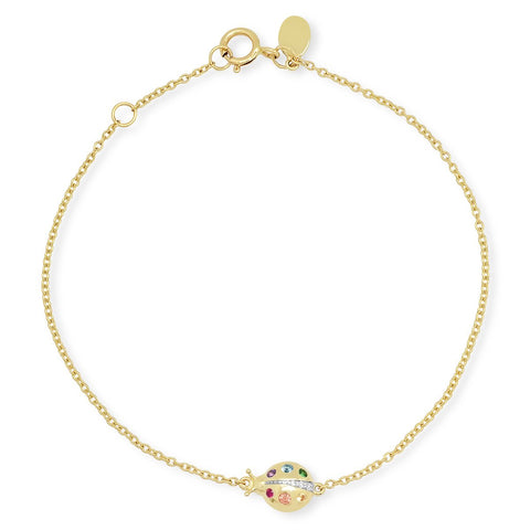 Yellow Gold Multi Colored Crawling Ladybug Bracelet