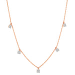 Rose Gold Diamond Mini Square Necklace