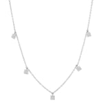 White Gold Diamond Mini Square Necklace