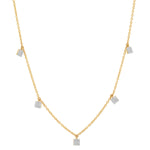 Yellow Gold Diamond Mini Square Necklace