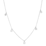 White Gold Mini Square Necklace