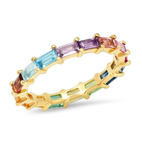14K Yellow Gold Rainbow Baguette Ring