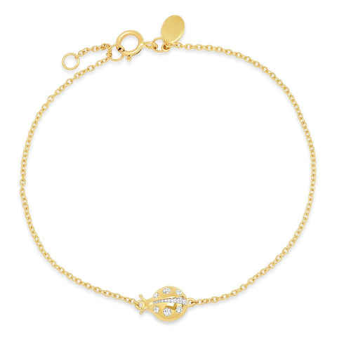 Yellow Gold Diamond Crawling Ladybug Bracelet