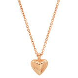 Rose Gold Mini Reversible Diamond and Gold Puffy Heart Necklace