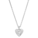 White Gold Mini Reversible Diamond and Gold Puffy Heart Necklace