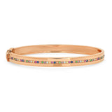 Rose Gold Bangle with Multi Colored Row